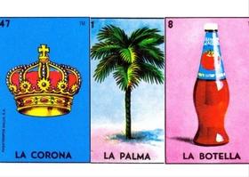 cartas corona, palma y botella