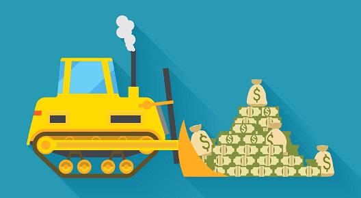 excavadora animada con dinero